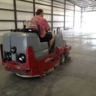 Concrete surface prep cleaning with auto scrubber